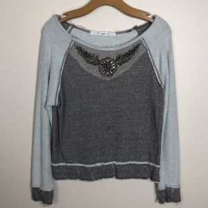 EUC Gibson Large Embellished Wide-Neck Sweater